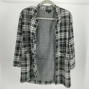 Express Plaid Coat Womens L Black White Knit Long